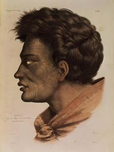 """Natai, a Maori Chief from Bream Bay, New Zealand, Plate 63 from """"Voyage of the Astrolabe"""" by Louis Auguste de Sainson"""