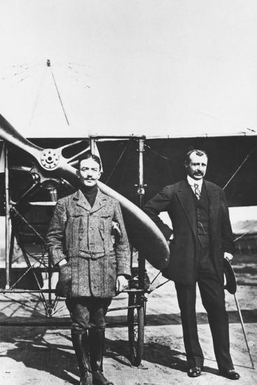 Louis Bleriot 1872-1936, French Aviator and the French Air Ace Adolphe Pegoud--Photographic Print