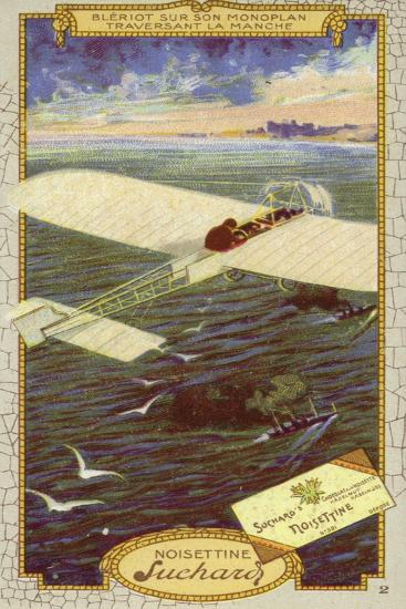 Louis Bleriot in His Monoplane Crossing the Emglish Channel, 1909--Giclee Print
