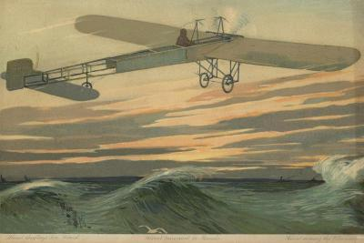 Louis Bleriot Making the First Flight across the English Channel in a Heavier Than Air Aircraft--Giclee Print