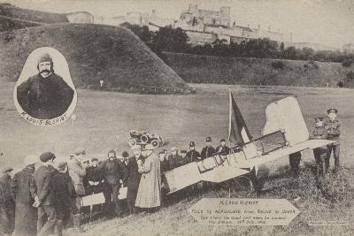 Louis Bleriot with His Aircraft at Dover after Flying across the English Channel, 15 July 1909--Photographic Print