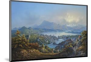 General View of the Town and Lake of Lucerne; Vue Generale De La Ville Et Du Lac De Lucerne by Louis Bleuler