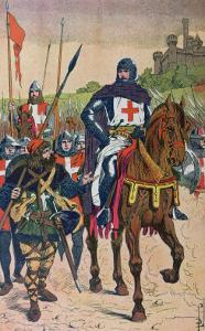 """Departing for the Crusades, Illustration from """"Histoire De France"""" by Jules Michelet circa 1900 by Louis Bombled"""