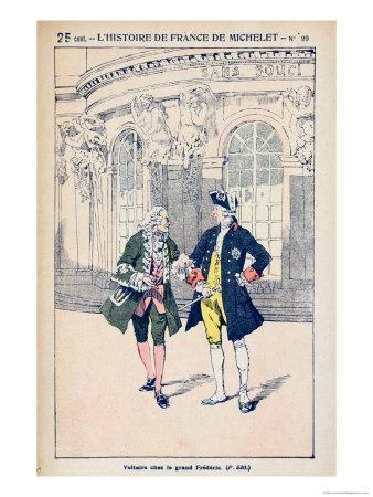 Francois Voltaire with King Frederick II of Prussia at Sanssouci Near Potsdam