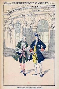 Francois Voltaire with King Frederick II of Prussia at Sanssouci Near Potsdam by Louis Bombled