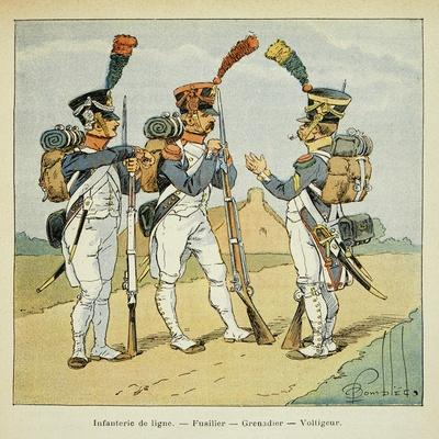 Napoleonic Wars, French Army. Line Infantry: Fusilier, Grenadier and Voltigeur