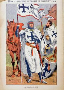 """The Knights Templar, Illustration from """"Histoire De France"""" by Jules Michelet circa 1900 by Louis Bombled"""