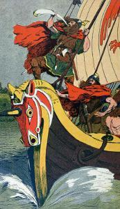 Viking Blowing the Horn on a Longship as it Approaches the Norse Coast by Louis Bombled