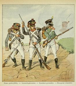Young Guard: Conscript Grenadier, Tirailleur-Grenadier, and Flanqueur-Chasseur by Louis Bombled