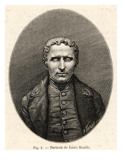 Louis Braille French Inventor of System of Raised-Point Writing for the Blind--Giclee Print