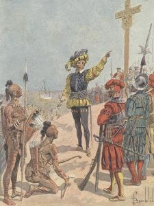 Jacques Cartier Claims French Possession of Gaspe Bay, Canada, 1534 by Louis Charles Bombled