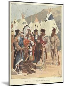 Trappers Trading with Native Americans, New France by Louis Charles Bombled