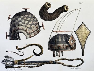 Hats and Tools of Sandwich Islands, Now Hawaii, Illustration from Picturesque Voyages around World