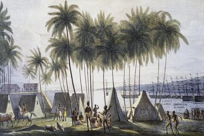 Port Hanarourou, Sandwich Islands, Now Hawaii, Engraving from Picturesque Voyages around World