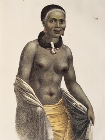 Woman of Sandwich Islands, Now Hawaii, 1816, Engraving from Picturesque Voyages around World