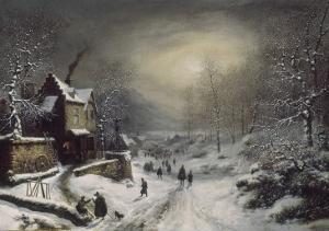 Convoi militaire - effet de neige et de soleil by Louis Claude Mallebranche