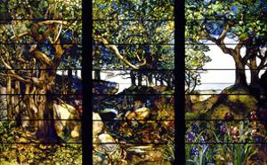 A Wooded Landscape in Three Panels, ca. 1905 by Louis Comfort Tiffany