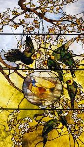 Parakeets and Gold Fish Bowl, 1893 by Louis Comfort Tiffany