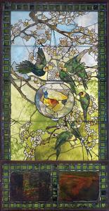 Parakeets and Gold Fish Bowl, about 1893 by Louis Comfort Tiffany