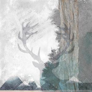 Deer and Mountains 1 by Louis Duncan-He