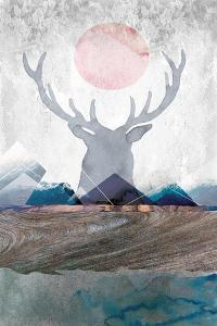 Deer and Mountains 2 by Louis Duncan-He