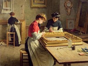 Interior of a Frame Gilding Workshop by Louis-Emile Adan