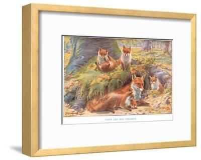 Vixen and Her Children, Illustration from 'Country Ways and Country Days'