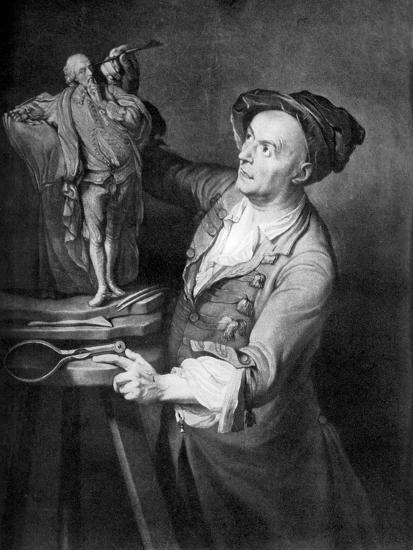 Louis Francois Roubiliac Making a Sculpture of Shakespeare, C1765, (1920)-David Martin-Giclee Print