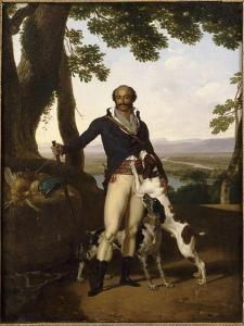 Portrait d'un chasseur avec ses chiens dans un paysage, dit Portrait d'Alexandre Dumas père by Louis Gauffier