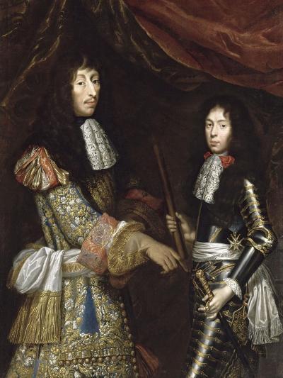 Louis II de Bourbon, 4° prince de Condé, dit le Grand Condé (1621-1686) et son fils aîné-Claude Lefebvre-Giclee Print
