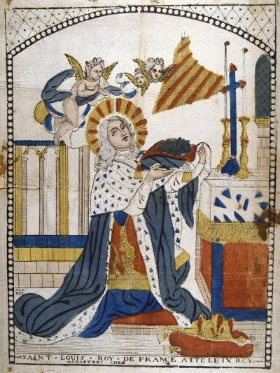 Louis IX, King of France, in Chartres Cathedral in His Coronation Robes, 1226--Giclee Print