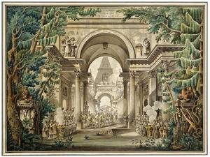 Procession in a Temple. Set Design for a Theatre Play, 18th or Early 19th Century by Louis Jean Desprez