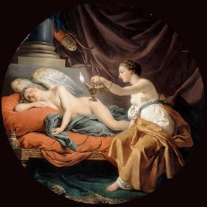 Psyche Surprising Sleeping Cupid by Louis-Jean-Fran?ois Lagren?e