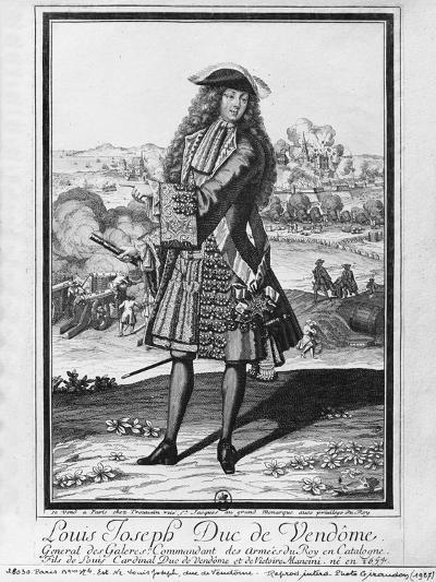 Louis Joseph De Bourbon, Duke of Vendome, known as 'The Great Vendome' (Engraving) (B/W Photo)-French-Giclee Print