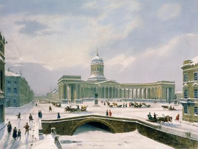 Kazan Cathedral, St. Petersburg, Printed by Lemercier, Paris, 1840s