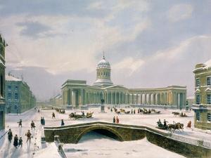 Kazan Cathedral, St. Petersburg, Printed by Lemercier, Paris, 1840s by Louis Jules Arnout