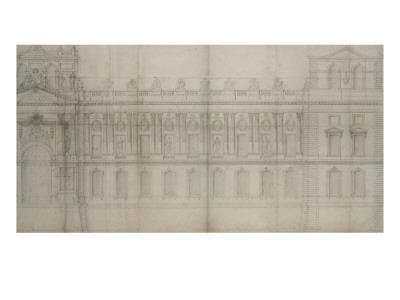 Recueil du Louvre (folio séparé): Elévation de la façade Est du Louvre avec