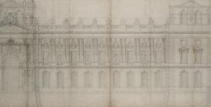 Recueil du Louvre (folio séparé): Elévation de la façade Est du Louvre avec by Louis Le Vau