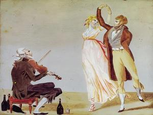 Merveilleuse and Incroyable with a Violinist by Louis Leopold Boilly