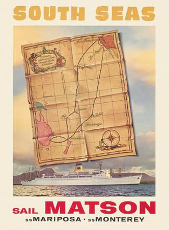 South Seas - Sail Matson - Steamships S.S. Mariposa and S.S. Monterey by Louis Macouillard