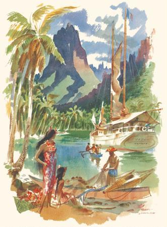 Tahiti - S.S. Matsonia Menu Cover - Matson Line (Matson Navigation Company) by Louis Macouillard