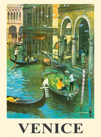 Venice Italy - Venetian Canals - Gondolas by Louis Macouillard