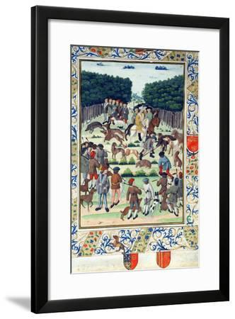 Louis Malet (1441-1516) Seigneur De Graville, Hunting Wild Boar, from the 'Terrier De Marcoussis'-French-Framed Giclee Print