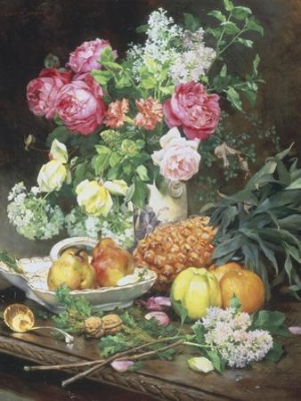 Still Life of Flowers and Fruit by Louis Marie De Schryver