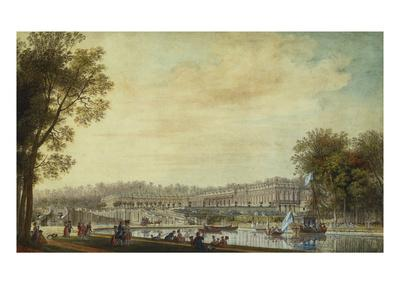 A View of the Grand Trianon, Versailles, with Figures and Vessels on the Canal
