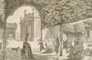 Vue du château de Trianon prise dans le jardin français by Louis Nicolas de Lespinasse
