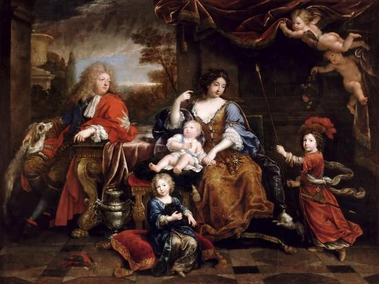 Louis of France, Grand Dauphin (1661-171), with His Family-Pierre Mignard-Giclee Print
