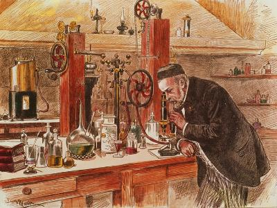 Louis Pasteur Experimenting for the Cure of Hydrophobia in His Laboratory, c. 1885, Pub. c. 1895-Adrien Emmanuel Marie-Giclee Print