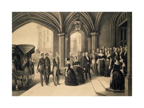 Louis-Philippe's Journey in England, 1844, King Being Received at Windsor Castle, October 8, 1844-Edouard Pingret-Giclee Print
