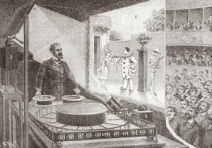 """The """"Theatre Optique"""" and Its Inventor Emile Reynaud with a Scene from """"Pauvre Pierrot"""" by Louis Poyet"""